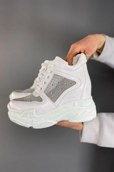 Beyaz Taşlı Dolgu Spor Ayakkabı