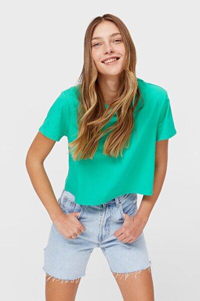 Kadın Yeşil Kısa Kollu Basic Crop Top
