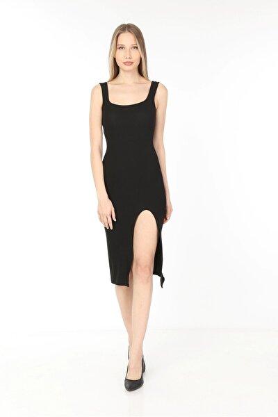 Kadın Siyah  Kare Yaka Yırtmaçlı Kaşkorse Elbise