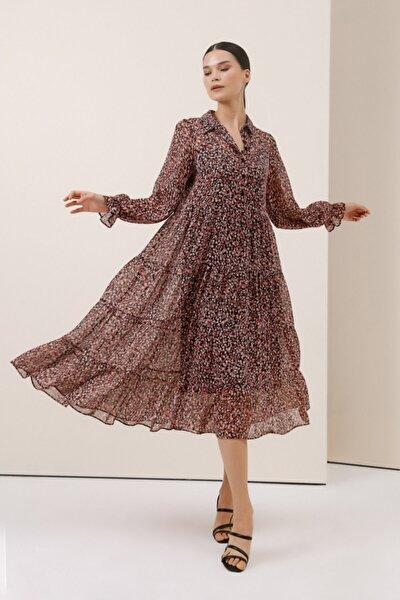Çiçek Desenli Uzun Elbise - Pudra