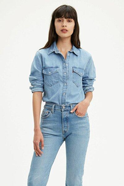 Kadın Mavi Düz Yaka Pamuk Kot Gömlek 167860001
