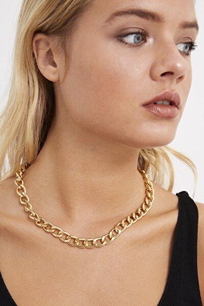 Kadın Gold Rengi Zincir Kolye