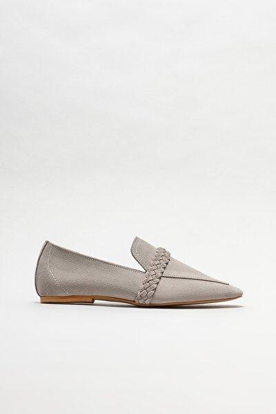 Kadın Gri Deri Loafer Ayakkabı