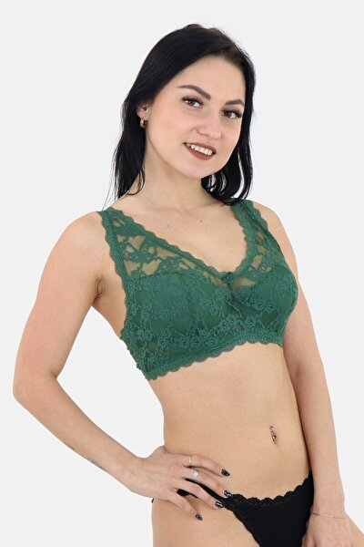 Kadın Yeşil Dantelli Push-up Sütyen