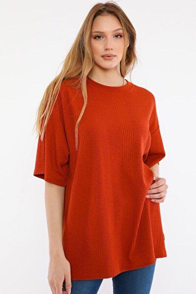 Kadın Kırmızı Oversize T-shirt