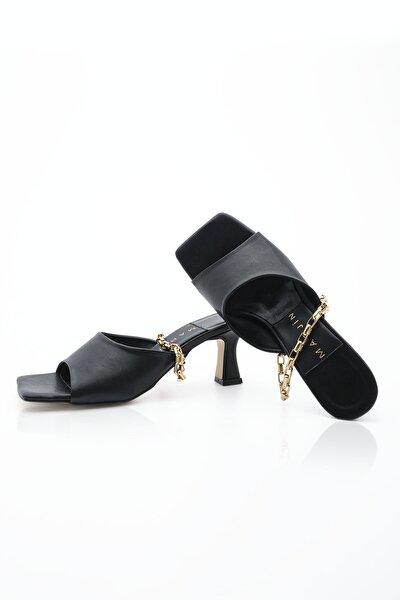 Kadın Siyah Topuklu Terlik Kimba