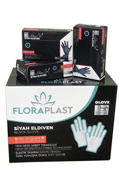 Glove M Beden Tpe/pe Pudrasız Tek Kullanımlık Siyah Elastik Eldiven 100 Adet