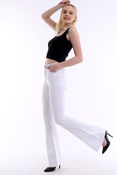 Özel Tasarım, Yüksek Bel, Ispanyol Paça, Full Likralı, Paçası Dikişsiz Yumuşak Kot Pantolon