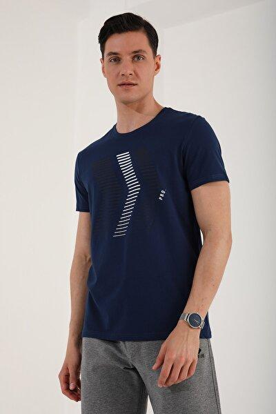 Erkek İndigo Ok Desen Baskılı Rahat Form O Yaka T-shirt  87960