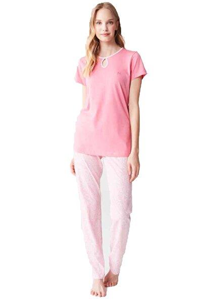 %100 Pamuklu Yazlık Kadın Pembe Pijama Takım