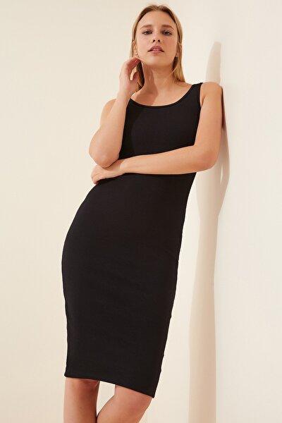 Kadın Siyah Askılı Fitilli Örme Elbise Lİ00063