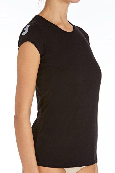 Kadın Siyah O Yaka T-Shirt U.S 01.66054
