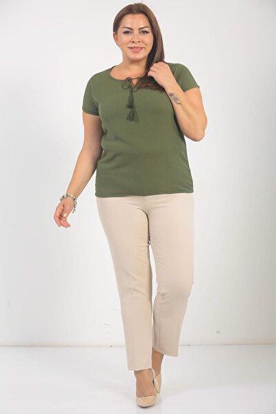 Kadın Sahte Cepli Pantolon Bej S-18Y3240001