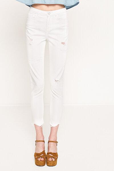 Kadın Beyaz Pantolon 7YAK47162MD