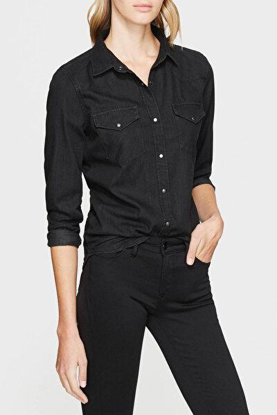 Kadın Isabel Vintage Siyah Jean Gömlek 1257127321