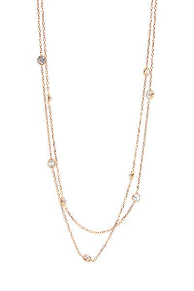 Kadın Gümüş Rose Sıra Taşlı Kolye SGTL8541