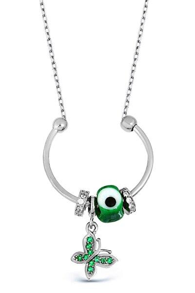 Kadın Nazarlı Gümüş Kelebek Kolye N119501