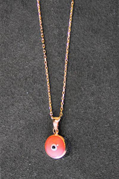 Kadın Pembe Nazarlı Göz Rose Gümüş Kolye TGK0332