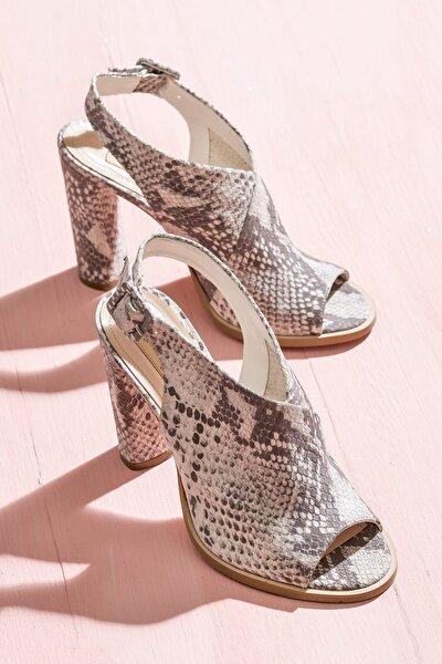KEKAHA Hakiki Deri Yılan Bej Kadın Ayakkabı