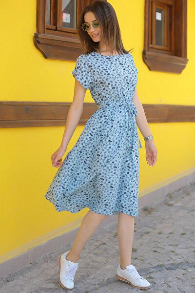 Kadın Bebe Mavi Desenli Beli Lastikli Bağlamalı Elbise ARM-18Y001121