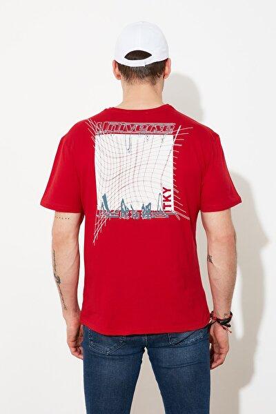 Kırmızı Baskılı Bisiklet Yaka T-Shirt TMNSS20TS0638