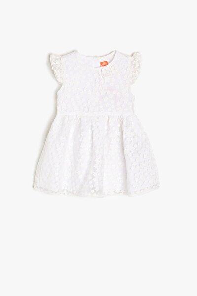 Kız Bebek Beyaz Desenli Elbise