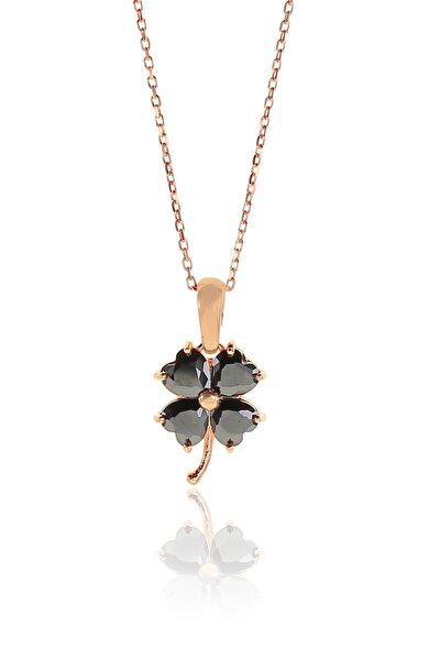 Kadın Gümüş Rose Onix (Siyah) Taşlı Yonca Kolye SGTL9332