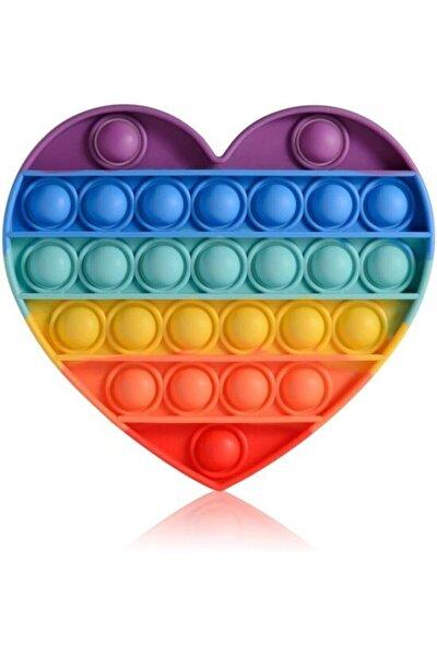 Push Pop It Push Bubble Fidget Stres Atıcı Rahatlatıcı Duyusal Oyuncak Gökkuşağı Kalp