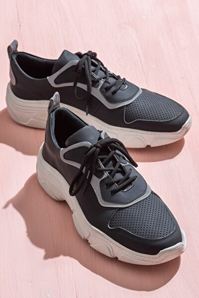 ALBERN Hakiki Deri Siyah Erkek Sneaker