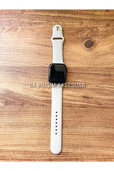 Apple Watch 1 2 3 4 5 6 Se 38 - 40 Mm Spor Kordon Silikon Kayış Krem S/m Beden