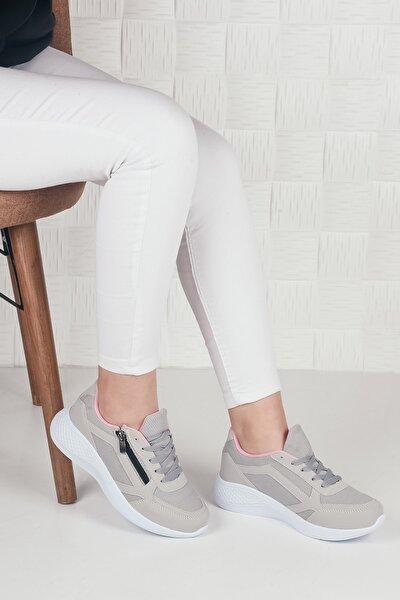Kadın Gri Fermuarlı Wand Spor Ayakkabı Ba20014