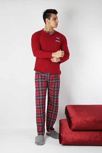 Erkek Bordo Pamuk 3 Düğmeli Pijama Takımı