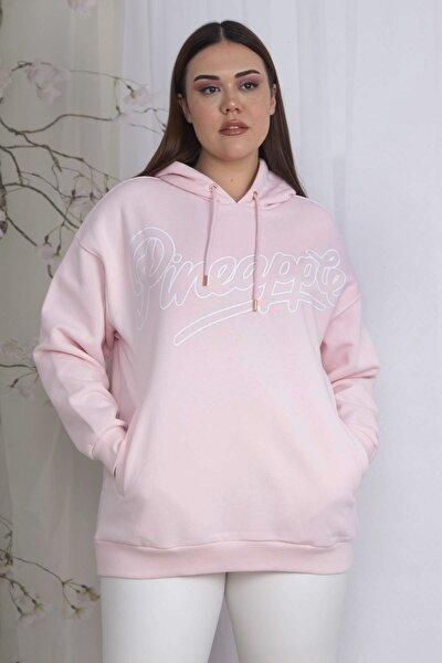 Kadın Pembe Kapüşonlu Kanguru Cepli Sweatshirt 65N22358