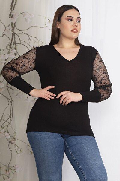 Kadın Siyah Kolları Flok Tül Detaylı Bluz 65N22605