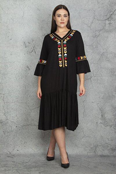 Kadın Siyah Nakış Detaylı Viskon Elbise 65N22608