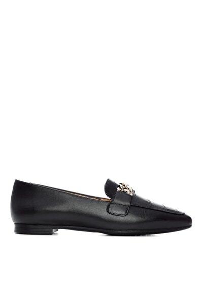 Kadın Siyah Deri Babet Ayakkabı