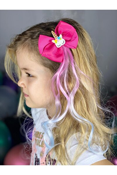 Unicorn Fiyonklu Pembe Mavi Sarkıt Çocuk Saç Postiş Toka