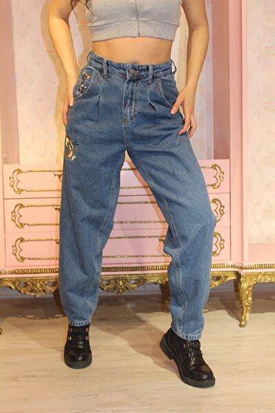 Kadın Mavi Önü Pileli Nakışlı Yüksek Bel Balon Jean Pantolon