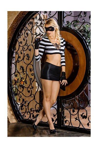 Kadın Lacivert Fantezi Çizgili Kostüm Moonlıght 9066