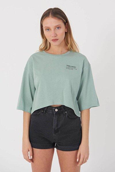 Kadın Mint Yazı Detaylı T-Shirt B114 - J4 Adx-0000023872