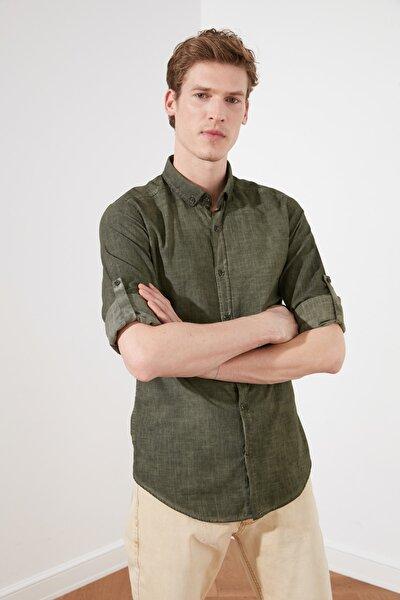 Haki Erkek Düğmeli Yaka Yağ Yıkama Slim Fit Gömlek TMNSS20GO0166