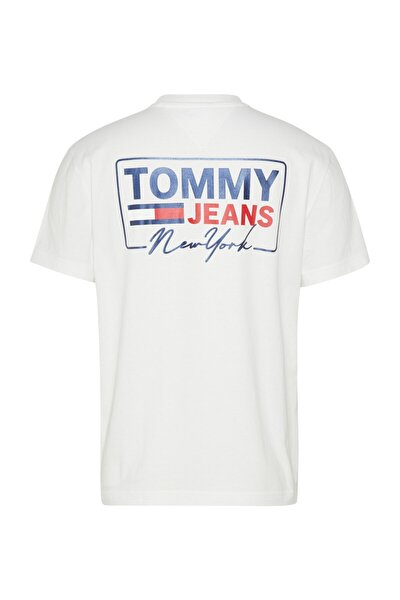 Erkek Beyaz T-Shirt Tjm Ny Scrıpt Box Back Logo Tee DM0DM10216YBR