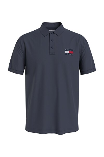Erkek Mavi T-Shirt Tjm Tommy Badge Lıghtweıght Polo DM0DM10327