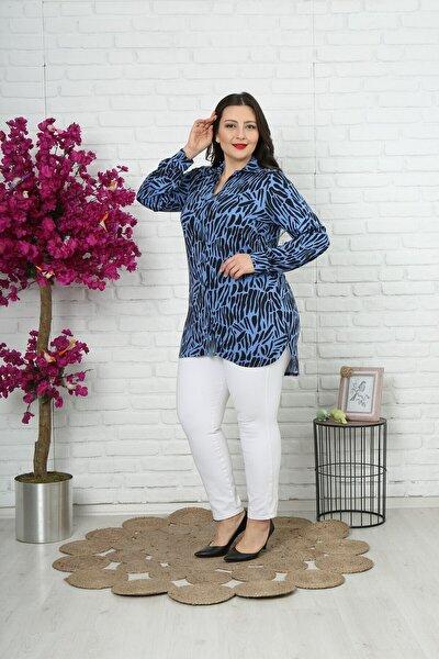 Kadın Mavi Büyük Beden Mavi Düğmeli Tunik