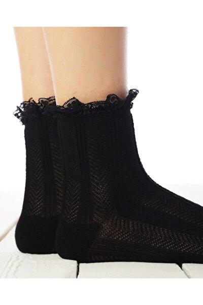 Kadın Siyah Renk Dantel Detaylı Soket Çorap