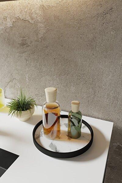 Beyaz Mermer Desenli Mutfak Kozmetik Takı Banyo Düzenleyici Organizer