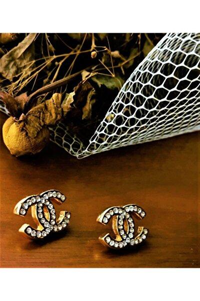 Chanel Model Zirkon Taşlı Gold Küpe