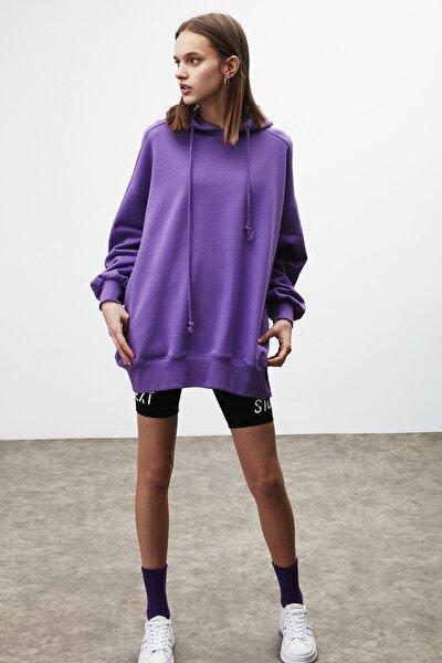 VIENNA Kadın Mor Ekstra Oversize Yan Cepli Kapüşonlu Sweatshirt