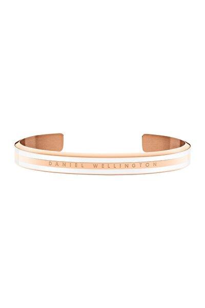 Classic Slim Bracelet Rose Gold Satin White Small - Kadın için