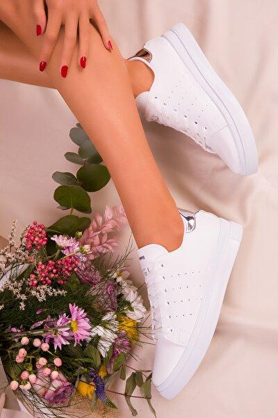 Beyaz Gumus Kadın  Sneaker